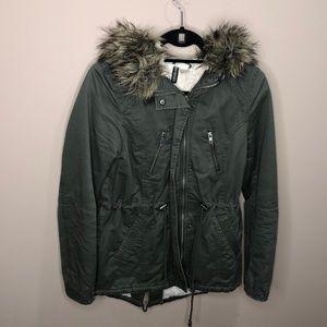 H&M Divided Olive Green Faux Fur Jacket